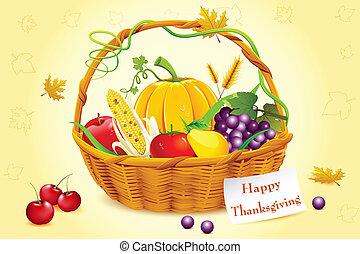cesto, pieno, di, ringraziamento, verdura