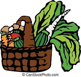 cesto, pieno, di, verdura