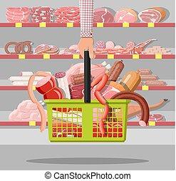 cesto, prodotti, carne, supermercato
