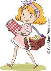 cesto, ragazza, capretto, picnic, passeggiata