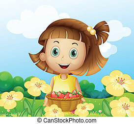 cesto, ragazza, presa a terra, frutte