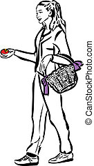 cesto, ragazza, suo, mela, mano