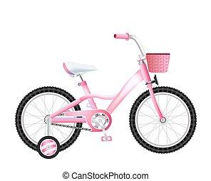 cesto, realistico, bianco, bicicletta, bambini
