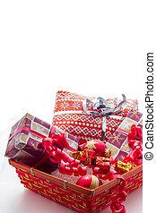 cesto, regali, natale
