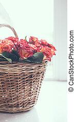 cesto, rose, tavola