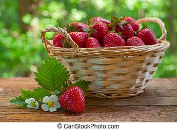 cesto, tavola, fragole, giardino