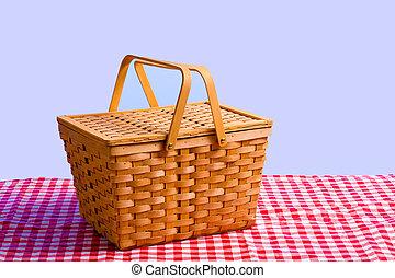cesto, tavola, picnic
