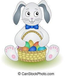 cesto, uova, coniglio