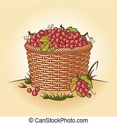 cesto, uva, retro