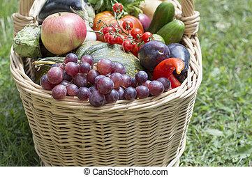 cesto, verdura, frutta