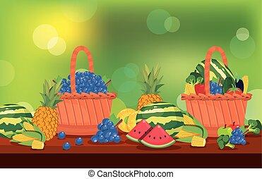 cesto, verdure fresche, tavola, frutte