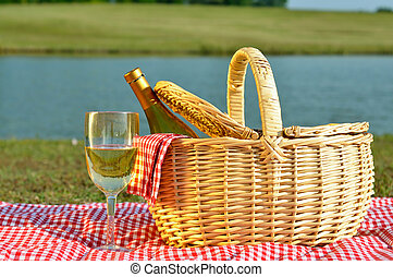 cesto, vetro, picnic, vino