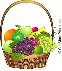 cesto, vimine, frutta