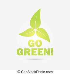 cestovat, green!, eco, ikona, s, leaves., vektor