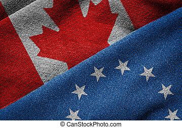 ceta, concept:, drapeaux, de, eu, et, canada, sur, grunge, texture