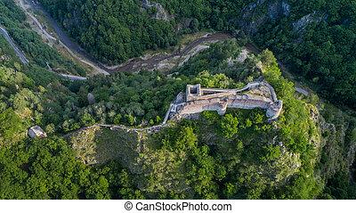 cetatea, 台無しにされる, 要塞, 山, ルーマニア, poenari
