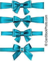 cetim, bows., azul, ribbons., presente
