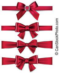 cetim, bows., ribbons., presente, vermelho