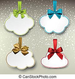cetim, cor, bows., papel, presente, cartões, branca