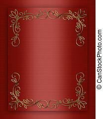 cetim ouro, ornamentos, fundo, vermelho