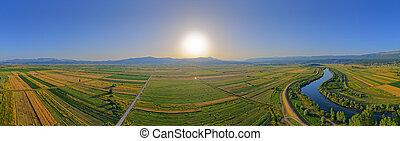 cetina, luftaufnahmen, panoramisch, kroatien, fluß, ansicht