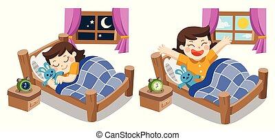 cette nuit, peu, bon, dreams., doux, haut, dormir, sillage, elle, fille nuit, morning.