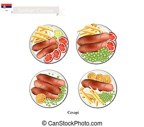 Serbian Cuisine, Illustration of Cevapi or Traditional Charcoal Grilled Minced Meat Sausage. The National Dish of Serbia.
