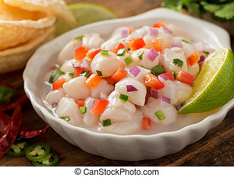 Ceviche - A freshly made scallop ceviche with red onion, ...