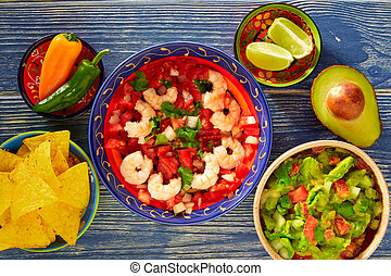 Ceviche Camaron shrimp nachos and guacamole