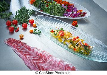 Ceviche dish preparation in restaurant kitchen