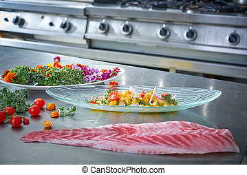 Ceviche dish preparation in restaurant kitchen - Ceviche...