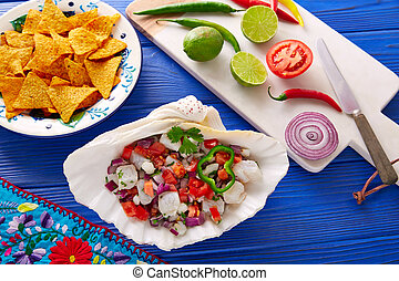 Ceviche Mexican style recipe with nachos