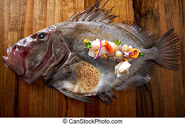 Ceviche modern cuisine of San Pedro fish Zeus faber