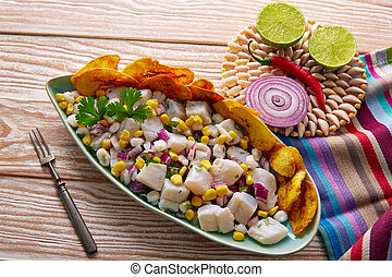 Ceviche peruvian recipe with fried banana