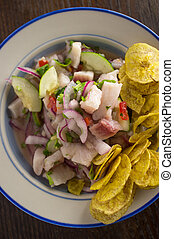 Ceviche Plantain Chips - Chilled spicy ceviche with crispy...