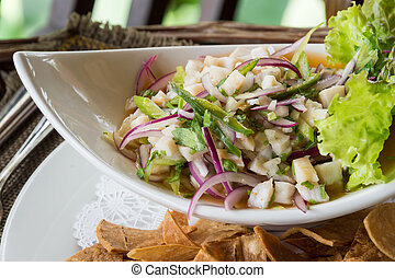 Ceviche served - Plate of Ceviche, a popular dish in Central...