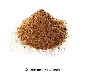 ceylon cinnamon powder isolated on white background
