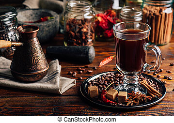 Cezve and Cup of Coffee with Oriental Spices.