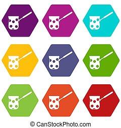 Cezve icon set color hexahedron