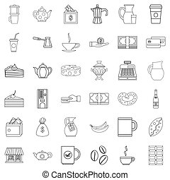 Cezve icons set, outline style