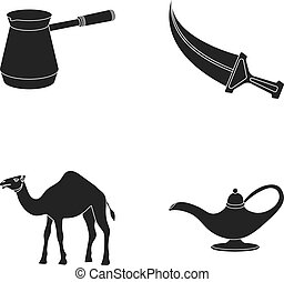 Cezve,Oil lamp, camel, snake in the basket.Arab emirates set collection icons in black style vector symbol stock illustration web.