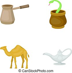 Cezve,Oil lamp, camel, snake in the basket.Arab emirates set collection icons in cartoon style vector symbol stock illustration web.
