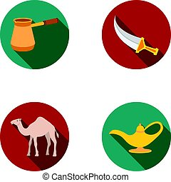 Cezve,Oil lamp, camel, snake in the basket.Arab emirates set collection icons in flat style vector symbol stock illustration web.