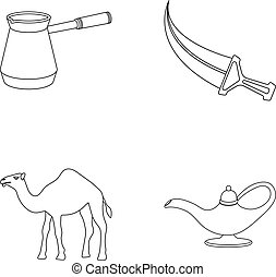 Cezve,Oil lamp, camel, snake in the basket.Arab emirates set collection icons in outline style vector symbol stock illustration web.