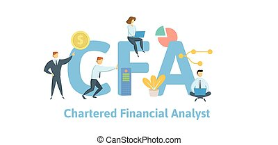 CFA, Chartered Financial Analyst. Concept with keywords,...
