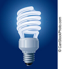 CFL bulb - Compact Fluorescent CFL Lamp. Vector Illustration...