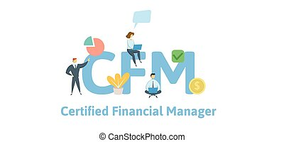 CFM, Certified Financial Manager. Concept with keywords, letters and icons. Flat vector illustration. Isolated on white background.