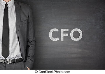 CFO on blackboard - CFO text on black blackboard with...