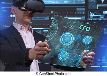 cfo, voit, réseau, fonctionnement, inscription:, concept., jeune, virtuel, business, internet, homme affaires, technologie, réalité, lunettes