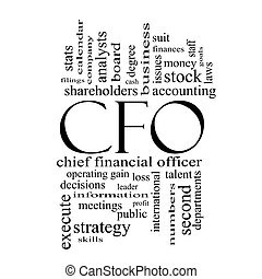 CFO Word Cloud Concept in black and white with great terms...